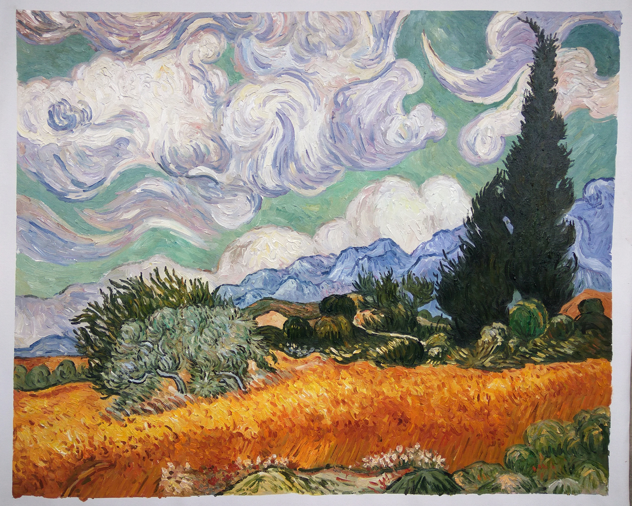 Replica Wheat Field with Cypresses
